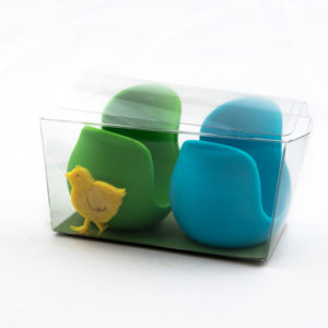 Green and light blue meltingshop egg cups